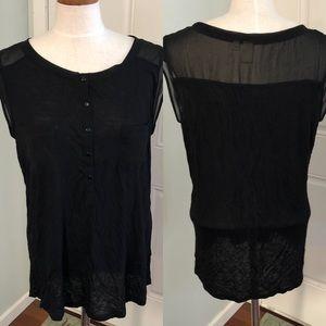 Black sheer chiffon mesh sleeveless blouse top
